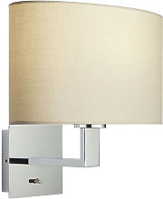 Wall Lamp Chrome Plate, Taupe Fabric Oval Shade