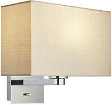 Wall Lamp Chrome Plate, Taupe Fabric Rectangular