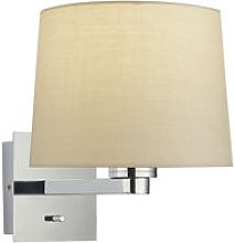 Wall Lamp Chrome Plate, Taupe Fabric Round Shade