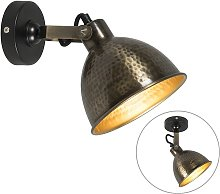 Wall lamp copper with brass adjustable 19.5 cm -