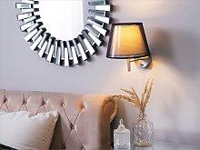 Wall Lamp Grey Fabric Bell Shade 28 cm Shiny Glam