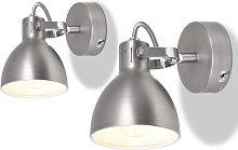 Wall Lamps 2 pcs for 2 Bulbs E14 Grey - Grey -