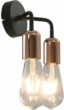 Wall Light with Filament Bulbs 2 W Black and