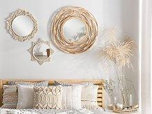 Wall Mirror Beige Cotton Frame Star-Shaped Macrame
