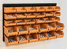 Wall Mounted 30 Piece Storage Bin Kit with Louvre