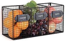 Wall Mounted Black Metal Wire 3-Compartment Bin