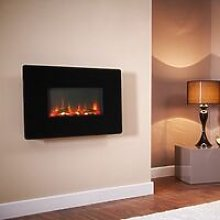 Wall Mounted Electric Fireplace Glass Heater Fire