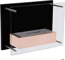 Wall-mounted fireplace with protective glass that