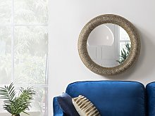 Wall Mounted Hanging Mirror Gold Round 80 cm
