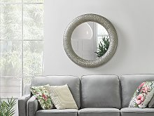 Wall Mounted Hanging Mirror Silver Round 80 cm