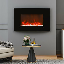 Wall Mounted LED Electric Fireplace Glass Front