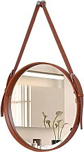 Wall-Mounted Mirror Makeup Mirror Leather Frame