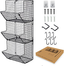 Wall Mounted Wire Basket 3 Tier Iron Wire Fruit