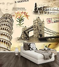 Wall Mural Leaning Tower of Pisa London Bridge 3D