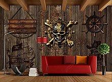 Wall Mural Pirate Ship Skull bar 3D Mural
