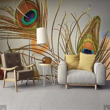 Wall Murals Wallpaper 3D Colorful Peacock Feather