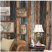 Wall Paper Vintage Wood Panel Wallpaper Blue Brown