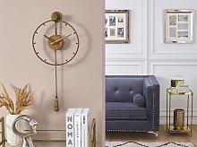 Wall Pendulum Clock Gold Iron Frame Classic Design