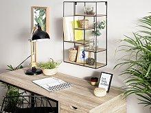 Wall Shelf Light Wood Wire Frame Geometric
