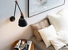 Wall Spot Lamp Black with White Metal Long Swing