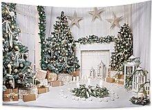 Wall Tapestry Blanket Winter Night Christmas Tree