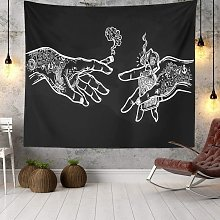 Wall Tapestry White and Black Floral Hands,