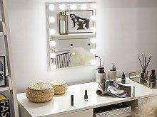 Wall Vanity Mirror with LED White 40 x 50 cm Rectangular Hollywood Illuminated Bulbs Dressing Table