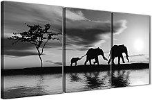 Wallfillers Black White African Sunset Elephants