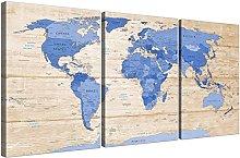 Wallfillers Large Blue Cream Map of World Atlas