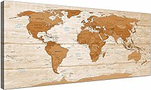 Wallfillers Large Brown Cream Map of World Atlas