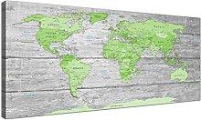 Wallfillers Large Lime Green Grey World Map Atlas
