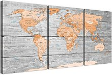 Wallfillers Large Orange Grey Map of World Atlas