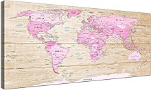 Wallfillers Large Pink Cream Map of World Atlas
