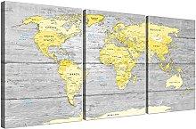 Wallfillers Large Yellow Grey Map of World Atlas