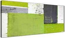 Wallfillers Lime Green Grey Abstract Painting