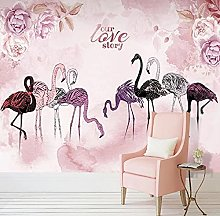 WALLPACL Photo Mural Wallpaper 3D Nordic Flamingo