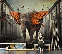 WALLPACL Photo Mural Wallpaper Elephant Butterfly