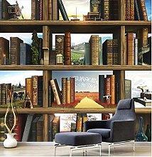 Wallpaper 3D Creative Book Shelf Living Room Tv