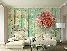 Wallpaper 3D Effect Brick Wall Idyllic Flowers