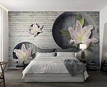 Wallpaper 3D Effect Brick Wall Lily Flowers