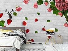 Wallpaper 3D Effect Pink Flower Petals Rose Flower