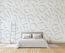 Wallpaper 3D Effect White English Letters 3D Wall