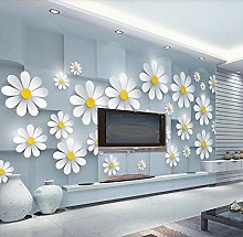 Wallpaper 3D Effect White Floral Brick Wall Simple