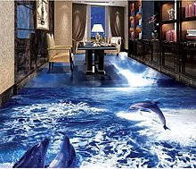 Wallpaper 3D Flooring for Bedroom Walls Dolphin
