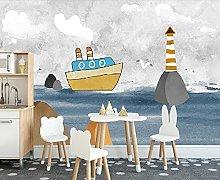 Wallpaper 3D Sea Steamer Reef Lighthouse Wall