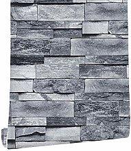 Wallpaper Bricks Slate Textured 3D Effect Grey