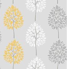 Wallpaper - Feature Tree Foliage - Grey / Yellow /
