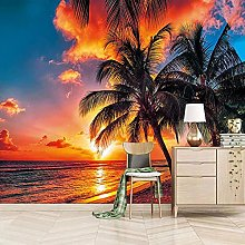 Wallpaper for Bedroom Coconut Tree in The Sea at