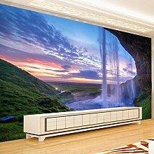Wallpaper for Bedroom Green Grassland Waterfall