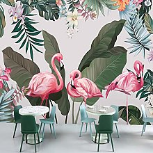 Wallpaper for Bedroom Pink Flamingo Green Leaves